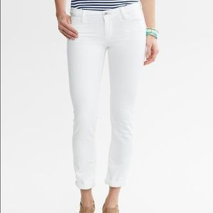 Banana Republic Skinny White Ankle Crop Jeans